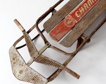 1950s Champion Sno-Liner sled, vintage wooden sled