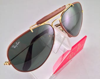Vintage B&L Ray Ban USA Brown Tobacco Leathers G15 58mm Sunglasses