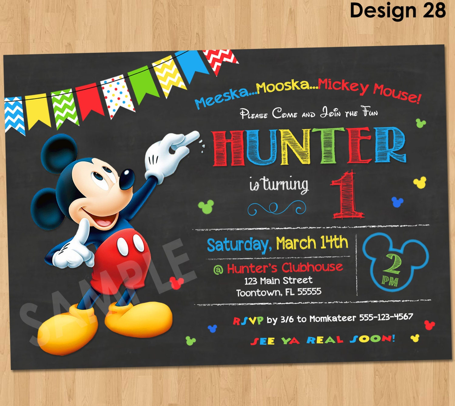 Mickey Mouse Birthday Invitation Mickey Mouse Clubhouse