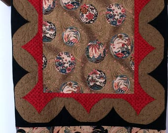 Japanese Geisha Girls quilt wall hanging or sofa throw red, black and gold
