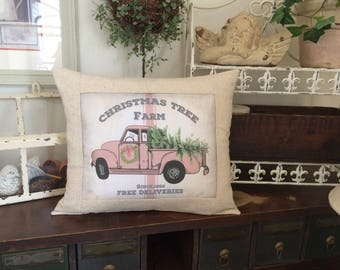 Pink Truck Christmas Tree Farm Advertising Pillow, Pink Truck Farmhouse Pillow, Vintage Farmhouse Throw Pillow, Cottage Style Pillow,