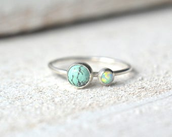 Opal And Turquoise Ring, Opal Stackable Ring, Natural Turquoise Stacking Ring, Stacking Ring, Dainty Turquoise Ring, Two Gemstone Ring