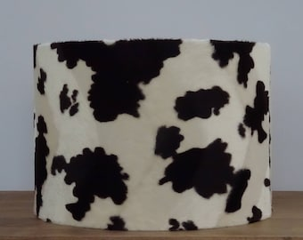 Cow print lamp shade etsy brown and white cow faux fur effect animal print drum lampshade aloadofball Gallery