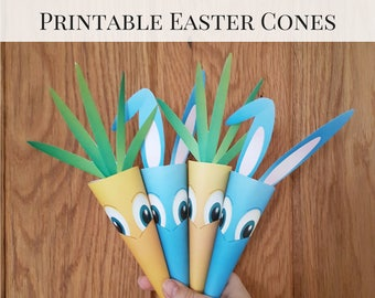 Easter Printables, Candy Cones, Easter Decorations, Rabbit Cone, Carrot Cone, Easter Containers, Easter Activities, Easter DIY