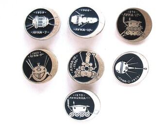 Moon, Set of 7 Soviet Space Badges, Luna, Vintage metal collectible badge, Spacecraft, Soviet Pin, Vintage Badge, Made in USSR, 1980s