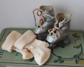 Vintage Composition Doll Skates Vintage Doll Skates Vintage Doll Skates and Socks Vintage Doll Shoes Vintage Composition Doll Shoes