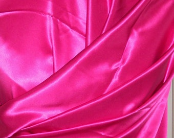 100% Silk Charmeuse Hot Pink 19MM