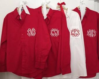 Bridal Party Shirts, 4 Bridesmaids Shirts, Getting Ready Shirts, Bride Shirt, Monogrammed Button Down Shirt, Wedding Day Shirts Personalized