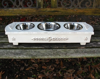 Dog Bowl Feeder, Tori Spelling's Blog, Dog Bowl Feeder, Elevated Feeder, Dog Dish, Pet Bowl, Pet Feeder, Three Bowls, Made To Order