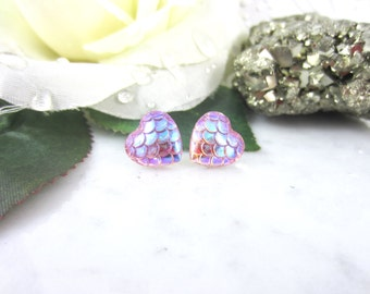 Mermaid Heart Studs - Mermaid Earrings - Dragon Studs - Pink Earrings - Stud Earrings - Button Earrings - Mermaid Tail - Dragon Scales