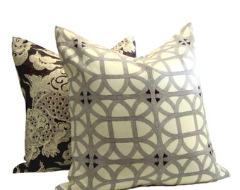 Williamsburg Collection Lamerie Lattice Black Orchid  Pillow Cover