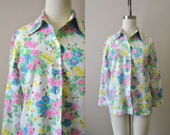 1970s Floral Button Front Shirt