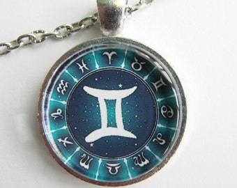 GEMINI ZODIAC SIGN Necklace -- Gemini symbol necklace for him or her, May and June birthday, Heavenly twins