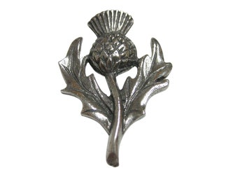 Silver Toned Thistle Flower Plant Magnet