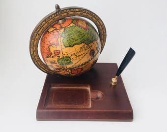 Italian Pictorial World Globe Business Card & Pen Holder/Vintage World Globe Desk Top Business Card Holder/Italian World Globe/Old World