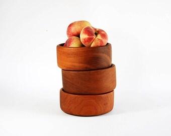 Vintage Antique Set of Three (3) Teak Wood Wooden Bowls Thailand Thai