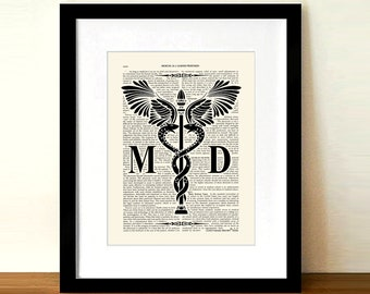 "Vintage Medical Doctor (MD) - Caduceus - 8.5""x11"" print, Medical print, Doctor Gift, Physician gift, Doctor of Medicine MD typography"