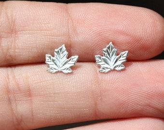 Sterling Silver Leaf Stud Earrings / 925 Sterling Silver Stud Earrings / Tiny maple leaf studs / sterling silver stud earrings