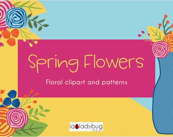 Spring flowers clip art and digital papers set. Floral clipart and wallpapers collection. Instant download PNG files. High resolution 300dpi