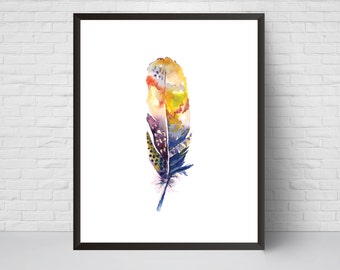 Feather Watercolor Print, Feather Decor, Lilac Yellow Printable Modernism art poster, Feather Art, Print, Large Print 16x20