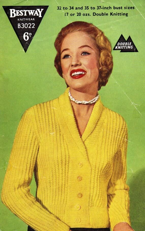 Ladies Cardigan Vintage 1950s Pdf Knitting Pattern Jackets