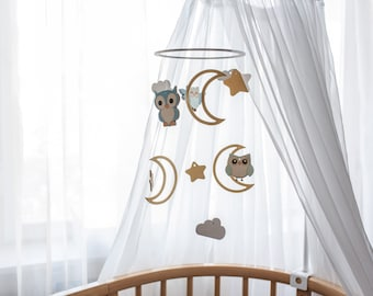 Baby owl mobile - Baby mobile birds - Owl mobile - Nursery owl mobile - Owl baby crib mobile - Forest mobile - Moon baby mobile