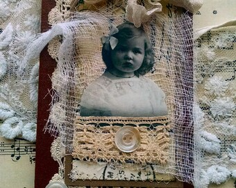 Little Sweetheart  Altered Art Pocket Journal 3.75 x 6.7 inches