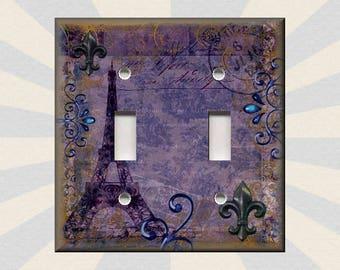 Metal Light Switch Plate Cover   Eiffel Tower Decor Paris My Love Purple  Paris Home Decor