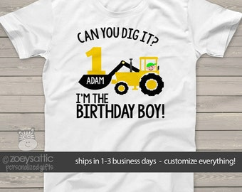 construction birthday boy shirt - excavator can you dig it - personalized birthday shirt MBD-043