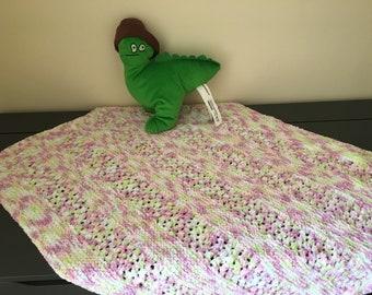 Fleece knitted baby blanket