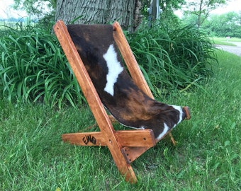 Cowboy-Cowgirl Handcrafted Cowhide Folding Chair