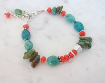 Turquoise & coral bracelet, boho real turquoise bracelet, chunky gemstone bracelet, turquoise jewelry, sterling silver bead stone bracelet