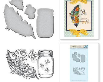 Spellbinders Feather Fireflies Stamp and Die Set from the Spring Love Collection by Stephanie Low SDS-060