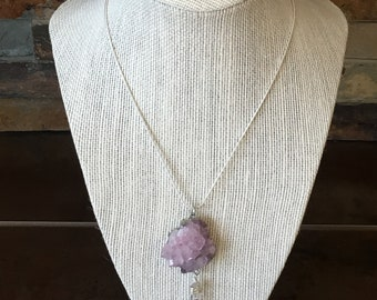 Purple Quartz Cluster Pendant Wire Wrapped Clear Quartz Flourite Necklace Jewelry Gift