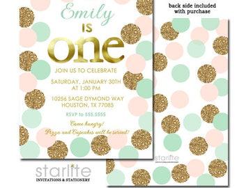 Pink Mint Gold First Birthday Invitation, 1st Birthday Invitation Girl Pink and Gold Mint, Girl 1st Birthday Invite Gold Glitter Printable