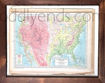 Vintage United States Map 1945 Original Atlas Antique USA