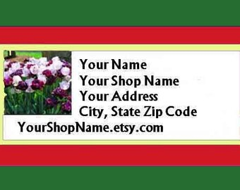 60 PERSONALIZED Return Address Labels. 2 Sheets White 1-Inch Labels. COLOR Picture. 5388