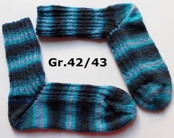 hand-knitted socks, Gr. 42/43 (EU), blue
