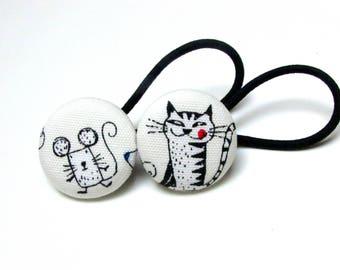 Handmade Kawaii White Black Japanese Mouse And Her Cat Animal Children Girl Fabric Button Ponytail Holder Elastic Hair Ties