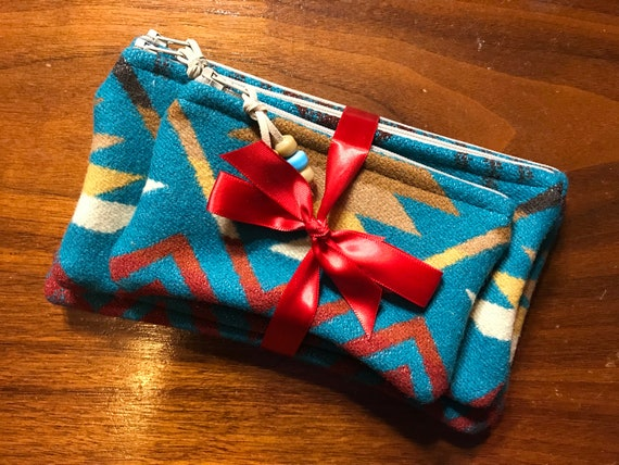 Gift Set of 3 / Organizer Set / Travel Set Wool Turquoise Coyote Butte