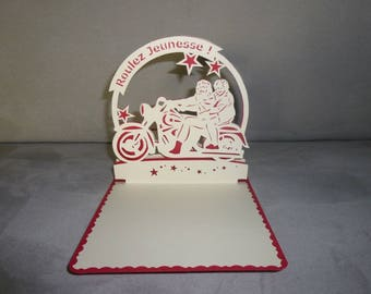 """handmade themed card """"ride youth - father and mother Christmas"""" Kirigami"""