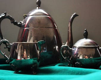 Silver Plated Sheridan MA Teapot, Cream and Sugar Set 1950s