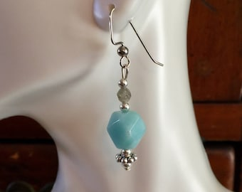 Beaded amazonite and faceted labradorite dangle earrings
