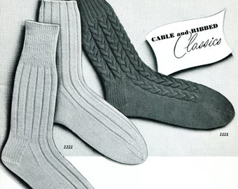 1950's Men's Mid Century Knitted Ribbed & Cable Socks  PDF Pattern Instant Download
