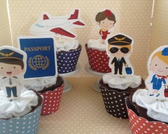 Airport, Pilot, Stewardess, Flight Attendant, Airplane, Passport, Traveling Party Cupcake Topper Decorations - Set of 10