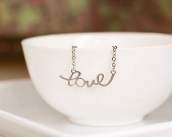 STERLING SILVER Chain & Clasp LOVE pendant, Love Necklace, Silver Love Word Pendant, Feminine Silver Necklace, Bridesmaid Necklace .