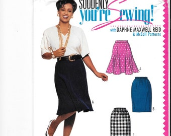 Daphne Maxwell Reid Patterns, McCall's 0092, Misses' Skirts, Elastic Waist Skirt Pattern, All Sizes Included, Women's Skirt Pattern, Uncut