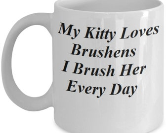 Simple Coffee Mug with Kitty Loves Brushens