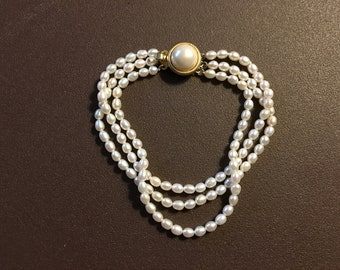 1970s Triple Strand Uniform Freshwater Pearl Bracelet – Weddings, Brides, Bridal Accessories
