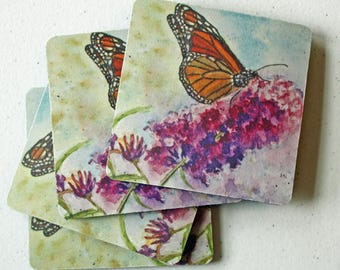Butterfly Art Coasters, Monarch Butterfly & Purple Flowers Print - Set of 4, Home Decor Art